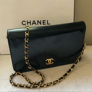 CHANEL Black Glazed Leather Small Flap Bag Vintage